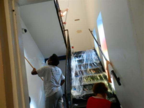Tarsha painting stairwell